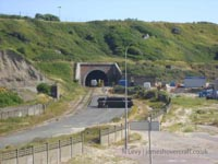 A recce of the derelict buildings of the old Boulogne Hoverport - Train line viewed from the exit road (N Levy).
